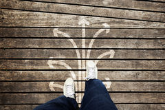Man foot shoes and arrows set background Royalty Free Stock Photo