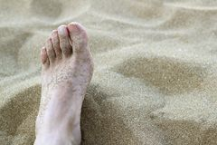 Man foot in summer beach sand. Vacation holydays metaphor Royalty Free Stock Photo