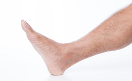 Man foot on white background. Men foot on white background Royalty Free Stock Images