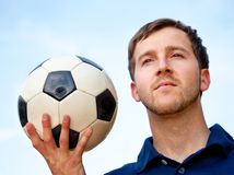 Man with a football Stock Photo