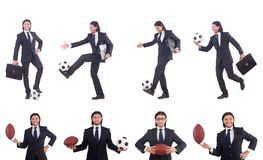 The man with football isolated on white Stock Image