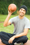 Man With Football - vertical Stock Image