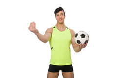The man with football on white Stock Image
