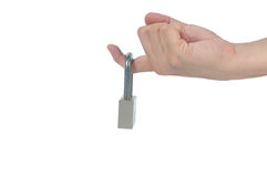 Man forefinger locked by padlock, Trigger-Finger health care bus Royalty Free Stock Image