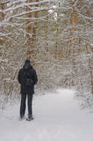 Man in the forest. Man in the winter forest stock image