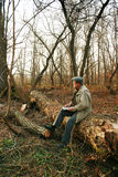 Man in forest with laptop Royalty Free Stock Photography