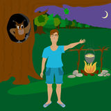 The man in the forest at night. Stock Photo