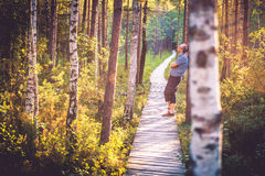 Man in forest Royalty Free Stock Images