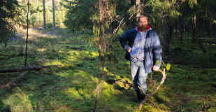 Man in forest Stock Images
