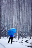 Man in the forest on wintertime Stock Photo