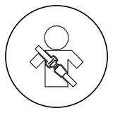 Man with forklift seat belt stick figure Car safety belt icon black color vector illustration simple image. Man with forklift seat belt stick figure Car safety Royalty Free Stock Photo