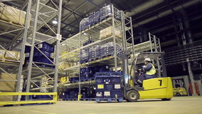 Man on forklift transporting container stock footage
