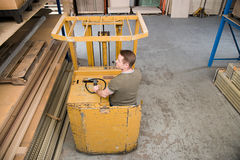 Man in forklift truck Royalty Free Stock Photo