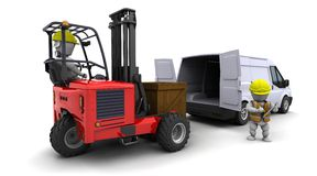 Man in forklift truck loading a van Stock Image