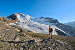 Man fotvandraren vid glaciären i kanadensiska steniga berg vid den stora kontinentala skiljelinjen och Columbia Icefield Royaltyfria Foton