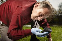 Man found falled meteorite on outdoor location. Man looking for falling meteorite made happy find on spring meadow stock photo