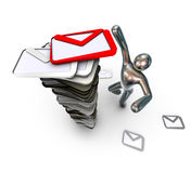 Man found an important mail. Metallic figure of a man and stock of envelopes on a white background. 3d stock illustration