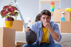 The man found smelly bag during relocation. Man found smelly bag during relocation stock image