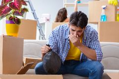 The man found smelly bag during relocation. Man found smelly bag during relocation stock photos