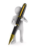 Man with fountain pen on white background Stock Photography
