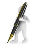 Man with fountain pen on white background Royalty Free Stock Photo