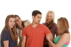 Man with four women Royalty Free Stock Images