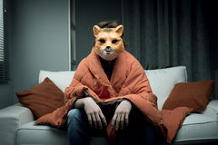 Man with fox mask. Young man wearing a fox mask sitting on sofa covered with a blanket Royalty Free Stock Images