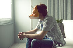 Man with fox mask Royalty Free Stock Photography