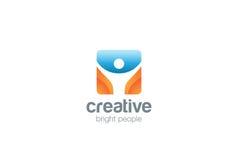 Man för fyrkant för vektor för design för logo för sportkondition aktiv Royaltyfri Foto