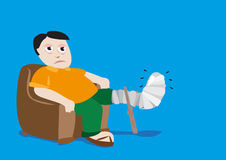 Man with Fractured Leg in a Cast. Editable Clip Art. Stock Photos