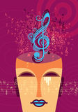 Man framsidakonturn i profil med musikaliskt hår Arkivfoton