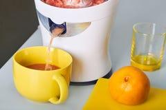 Man framställning av ny orange fruktsaft på köket Royaltyfri Foto
