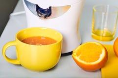 Man framställning av ny orange fruktsaft på köket Royaltyfri Bild