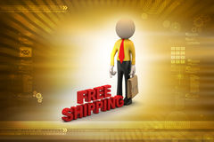 Man with free shipping parcel. In color background Royalty Free Stock Image