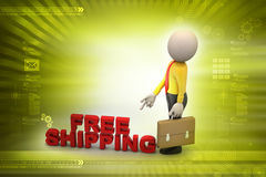 Man with free shipping parcel. In color background Royalty Free Stock Photography