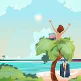 Man Freelance Remote Working Place Palm Tree Using Laptop Beach Summer Vacation Tropical View. Flat Vector Illustration royalty free illustration