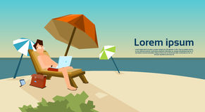 Man Freelance Remote Working Place On Sunbed Using Laptop Beach. Summer Vacation Tropical Island Flat Vector Illustration Royalty Free Stock Photos