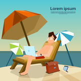 Man Freelance Remote Working Place On Sunbed Using Laptop Beach. Summer Vacation Tropical Island Flat Vector Illustration stock illustration