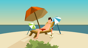 Man Freelance Remote Working Place On Sunbed Using Laptop Beach Royalty Free Stock Photography