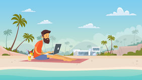 Man Freelance Remote Working Place Using Laptop Beach Summer Vacation Tropical Island. Flat Vector Illustration Royalty Free Stock Photography