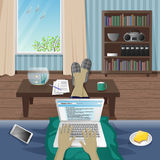 Man Freelancer work at home on laptop. Vector Illustration Royalty Free Stock Images
