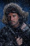 Man Freezing in Cold Weather Stock Photography