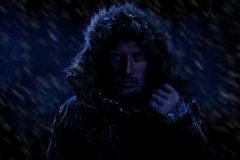 Man Freezing in Cold Weather. Dramatic Image of Scruffy Man Freezing in Cold Weather Stock Images