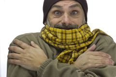 Man freezing over white Royalty Free Stock Photo