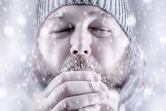 Man freezing in snow storm white out close up. Freezing cold man in snow storm white out trying to keep warm by blowing into his hands. Wearing a beanie hat with Royalty Free Stock Images