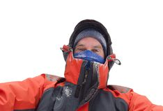 Man freezing in winter Royalty Free Stock Photo