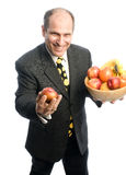 Man with fresh fruit in bowl royalty free stock images
