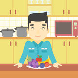 Man with fresh fruits vector illustration. Stock Photo