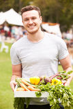 Man With Fresh Produce Bought At Outdoor Farmers Market Stock Images