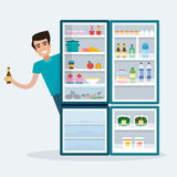 Man with fridge. Stock Images